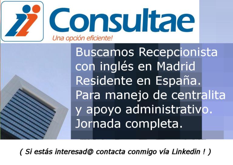 Oferta recepcionista Madrid