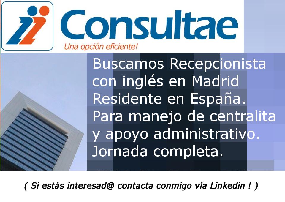Recepcionista con inglés en Madrid