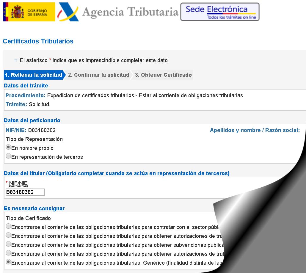 Sede electrónica certificados corriente de pago AEAT