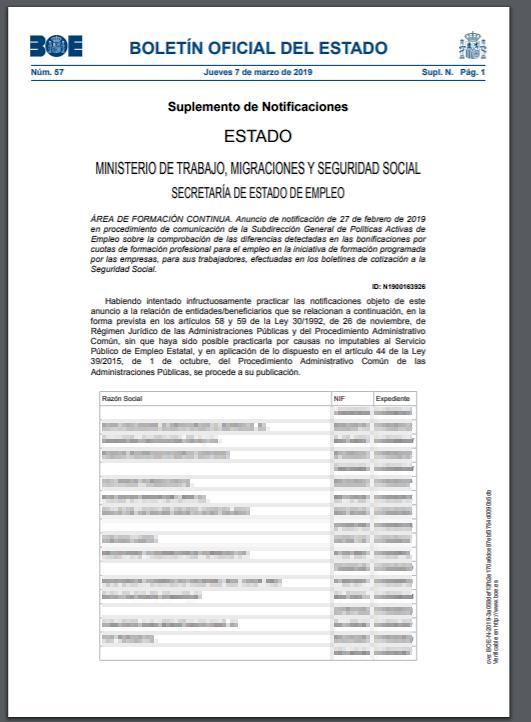 Publicación en el BOE de comunicaciones relacionadas con la gestión de las bonificaciones por las empresas