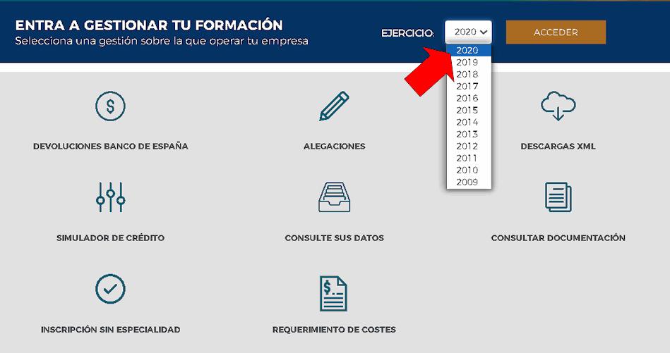 Acceso aplicación bonificaciones de Fundae