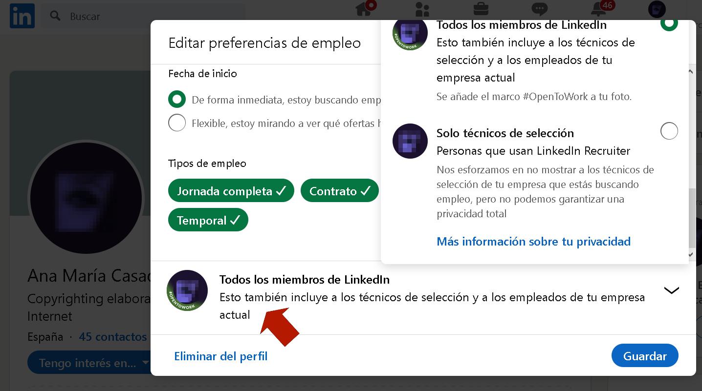 Linkedin Opentowork Configuración